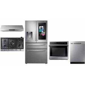 """Samsung 5 Piece Kitchen Appliances Package with 36"""" French Door Refrigerator  36"""" Gas Cooktop  30"""" Electric Single Wall Steam Oven  36"""" Under Cabinet Hood"""