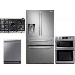 """Samsung 4 Piece Wi-Fi Connected Kitchen Appliances Package with RF28R7201SR 36"""" French Door Refrigerator  NQ70M7770DS 30"""" Steam Oven/Microwave Combo"""