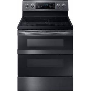 """Samsung NE59M6850SG 30"""" Freestanding Electric Range with 5.9 cu. ft. Total Capacity  FlexDuo  Dual Oven Doors  5 Elements  and Storage Drawer  in Black"""