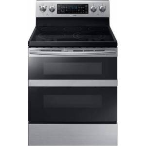"""Samsung NE59M6850SS 30"""" Freestanding Electric Range with 5.9 cu. ft. Total Capacity  FlexDuo  Dual Oven Doors  5 Elements  and Storage Drawer  in Stainless"""