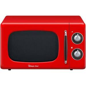 """Magic Chef MCD770CR 18"""" Retro-Style Countertop Microwave with 0.7 cu. ft. Capacity  700 Watts Cooking Power  Dial Controls  Timer and 7 Power Levels in"""