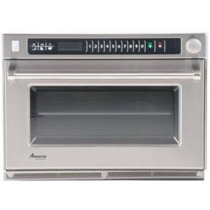 """Amana AMSO22 26"""" Countertop Commercial Heavy Volume Microwave with 1.6 cu. ft. Capacity  100 Programmable Menu Items  2200 Watts  ETL Listed  Stainless"""