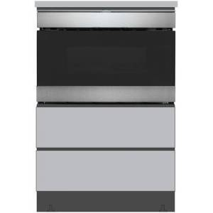 """Sharp SMD2489ES 24"""" Microwave Drawer with SKMD24U0ES 24"""" Under the Counter Pedestal in Stainless"""