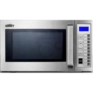 """Summit SCM1000SS 21"""" Commercially Approved Countertop Microwave with .9 cu. ft. Capacity  Saved Cooking Settings  Operations Count  Child Lock  Digital"""