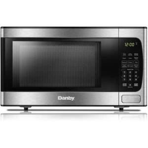 """Danby DBMW0924BBS 20"""" Stainless Steel Countertop Microwave with 0.9 cu. ft. Capacity  900 Cooking Watts  10 Power Levels and Child"""