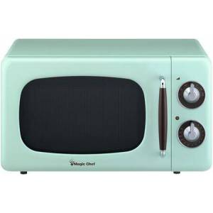 """Magic Chef MCD770CM 18"""" Retro-Style Countertop Microwave with 0.7 cu. ft. Capacity  700 Watts Cooking Power  Dial Controls  Timer and 7 Power Levels in"""