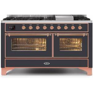 """Ilve UM15FDNS3MGP 60"""" Majestic II Series Dual Fuel Natural Gas Range with 9 Sealed Burners amd Griddle  5.8 cu. ft. Total Oven Capacity  TFT Oven Control"""