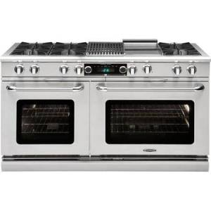 """Capital COB604BG2N 60"""" Connoisseurian Series Freestanding Dual Fuel Range with 9 cu. ft. Total Oven Capacity  6 Open Burners  12"""" Griddle  and 12"""" Grill  in"""