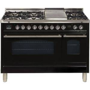 """Ilve UPW120FDMPN 48"""" Professional Plus Freestanding Dual Fuel Range with 7 Sealed Burners  Double Ovens  Griddle  and Rotisserie  in Glossy"""