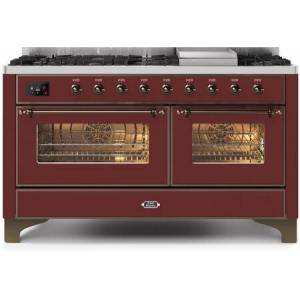 """Ilve UM15FDNS3BUBLP 60"""" Majestic II Series Dual Fuel Liquid Propane Range with 9 Sealed Burners amd Griddle  5.8 cu. ft. Total Oven Capacity  TFT Oven"""