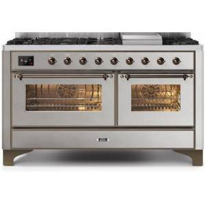"""Ilve UM15FDNS3SSB 60"""" Majestic II Series Dual Fuel Natural Gas Range with 9 Sealed Burners amd Griddle  5.8 cu. ft. Total Oven Capacity  TFT Oven Control"""