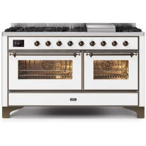 """Ilve UM15FDNS3WHB 60"""" Majestic II Series Dual Fuel Natural Gas Range with 9 Sealed Burners amd Griddle  5.8 cu. ft. Total Oven Capacity  TFT Oven Control"""