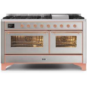 """Ilve UM15FDNS3SSP 60"""" Majestic II Series Dual Fuel Natural Gas Range with 9 Sealed Burners amd Griddle  5.8 cu. ft. Total Oven Capacity  TFT Oven Control"""