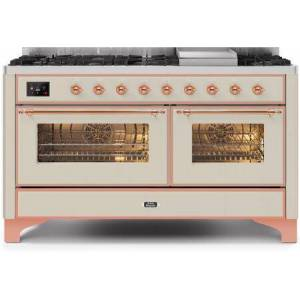 """Ilve UM15FDNS3AWP 60"""" Majestic II Series Dual Fuel Natural Gas Range with 9 Sealed Burners amd Griddle  5.8 cu. ft. Total Oven Capacity  TFT Oven Control"""
