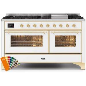 """Ilve UM15FDNS3RALG 60"""" Majestic II Series Dual Fuel Natural Gas Range with 9 Sealed Burners amd Griddle  5.8 cu. ft. Total Oven Capacity  TFT Oven Control"""