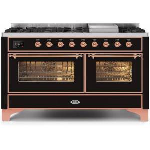 """Ilve UM15FDNS3BKP 60"""" Majestic II Series Dual Fuel Natural Gas Range with 9 Sealed Burners amd Griddle  5.8 cu. ft. Total Oven Capacity  TFT Oven Control"""
