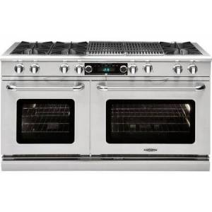 """Capital COB604BB2-N 60"""" Connoisseurian Series Freestanding Natural Gas Dual Fuel Range with 9 cu. ft. Total Oven Capacity  6 Open Burners  and 24"""" Grill  in"""