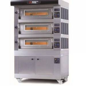 Moretti Forni AMALFI D3 Electric Pizza Oven Chamber Three Deck with Tray Guide Base  in