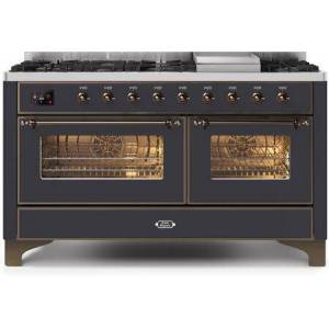 """Ilve UM15FDNS3MGB 60"""" Majestic II Series Dual Fuel Natural Gas Range with 9 Sealed Burners amd Griddle  5.8 cu. ft. Total Oven Capacity  TFT Oven Control"""