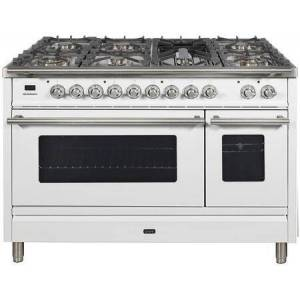 """Ilve UPW120FDMPBLP 48"""" Professional Plus Dual Fuel Range with 7 Sealed Burners  Double Ovens  Griddle  and Rotisserie  in"""