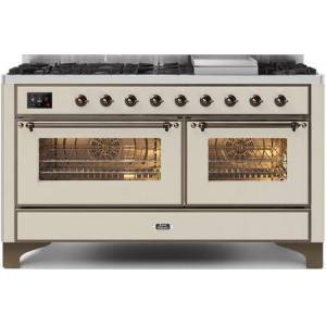 """Ilve UM15FDNS3AWBLP 60"""" Majestic II Series Dual Fuel Liquid Propane Range with 9 Sealed Burners amd Griddle  5.8 cu. ft. Total Oven Capacity  TFT Oven"""