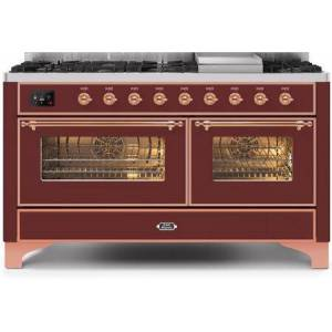 """Ilve UM15FDNS3BUP 60"""" Majestic II Series Dual Fuel Natural Gas Range with 9 Sealed Burners amd Griddle  5.8 cu. ft. Total Oven Capacity  TFT Oven Control"""