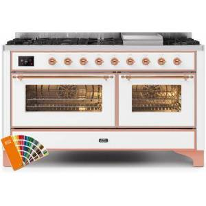 """Ilve UM15FDNS3RALP 60"""" Majestic II Series Dual Fuel Natural Gas Range with 9 Sealed Burners amd Griddle  5.8 cu. ft. Total Oven Capacity  TFT Oven Control"""