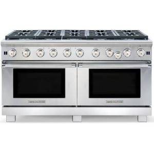 """American Range ARR1060N 60"""" Cuisine Series Natural Gas Range with 10 Sealed Burners  Double Oven  Continuous Commercial-grade Cast Iron Grates  and Analog Controls"""