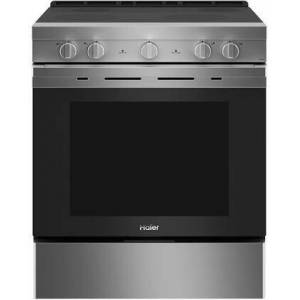 """HAIER QSS740RNSS 30"""" Smart Freestanding Electric Range with 4 Radiant Elements  5.7 cu. ft. Capacity  WiFi Connection and Hidden Bake Element in Stainless"""