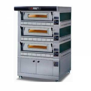 """Moretti Forni P110G B3 Gas Pizza Oven 44"""" x 44"""" x 7"""" (Chambers) - 3 Decks with Tray Guide Base  in"""