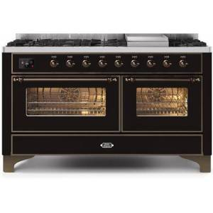 """Ilve UM15FDNS3BKB 60"""" Majestic II Series Dual Fuel Natural Gas Range with 9 Sealed Burners amd Griddle  5.8 cu. ft. Total Oven Capacity  TFT Oven Control"""