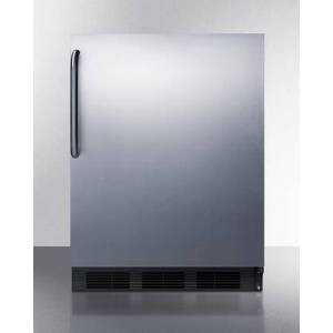 """Summit AccuCold FF7B-SSTB 24"""" 5.5 cu. ft. Commercially Approved Compact Refrigerator with Adjustable Glass Shelves  Deep Shelf Space  Interior Light  Hidden"""