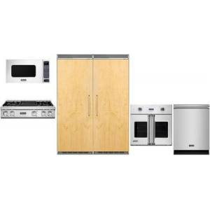 """Viking 6 Piece Kitchen Package with 30"""" Left Hinge Column Refrigerator  30"""" Right Hinge Column Freezer  36"""" Gas Cooktop  24"""" Microwave with 27"""" Trim Kit"""