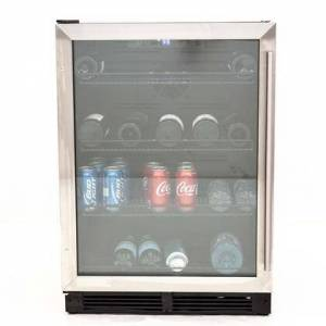 """Avanti BVB52T4S 24"""" Single Zone Beverage Center with 5.2 cu. ft. Capacity  Reversible Dual Pane Tempered Glass Door  Wire Beverage Shelves  Cool LED Display"""