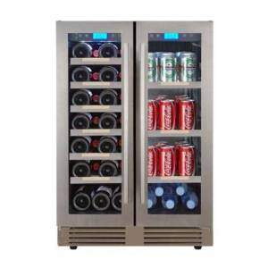 """Avanti WBC27W3S 24"""" French Door Bevereage Cooler with 27 Wine Bottle Capacity  3 cu. ft. Beverage Cooler. and 6 Wooden Shelves  in Stainless"""