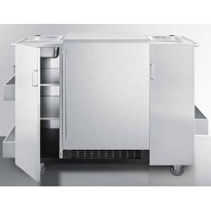 """Summit CARTOSRF 61"""" Cart with 2 Cabinets  2 Professional Towel Bar Handles  Refrigerator (SPR627OS Included)  3 Exterior Shelves  and Sealed Back: Stainless"""