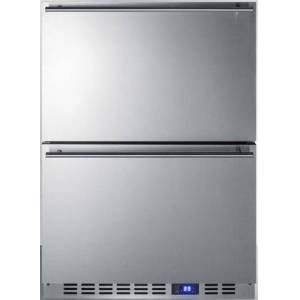 """Summit SPR627OS2D 24"""" Freestanding/Built In Commercial and Outdoor 2 Drawer Refrigerator with 3.4 cu. ft. Capacity  Digital Thermostat  LED Lighting and Pro"""