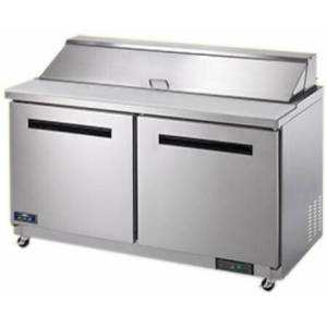 """AST60R 62"""" Sandwich/Salad Prep Table with Heavy-Duty Cutting Board  Plastic Pans  Electronic Thermostat and Locking Casters in Stainless"""