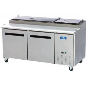 """Arctic APP71R 71"""" Two Door Pizza Prep Table with Electronic Thermostat  Locking Caster  21 cu. ft. Capacity and 1/2 HP in Stainless"""