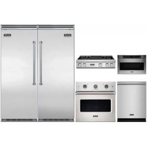 """Viking 6 Piece Kitchen Appliance Package with 30"""" Left Hinge Column Refrigerator  30"""" Right Hinge Column Freezer  36"""" Gas Cooktop  30"""" Electric Single Wall"""