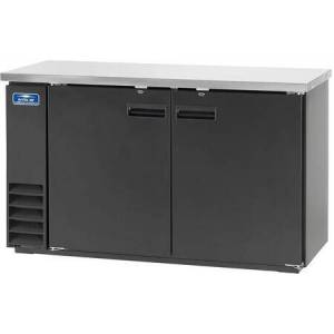 """ABB60 61"""" Back Bar Refrigerator with Electronic Thermostat  Solid Foamed Stainless Steel Top  LED Lighting and Magnetic Gaskets in"""
