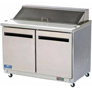 """Arctic AMT48R 49"""" Mega-Top Sandwich/Salad Prep Table with Heavy-Duty Cutting Board  Plastic Pans  Electronic Thermostat and Locking Casters in Stainless"""