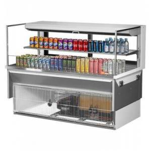 """Turbo Air TOM-60L-UFD-W-2SI-N 60"""" Low Profile Drop In Horizontal Open Display Merchandiser with 13 cu. ft. Capacity  Sliding Rear Door  Self-Cleaning Condenser"""