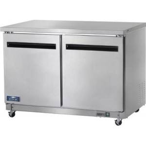 """Arctic AUC48R 49"""" Two Door Under-Counter Worktop Refrigerator with 2 Shelf  12 cu. ft. Capacity  3/8 HP  Electronic Thermostat  in Stainless"""