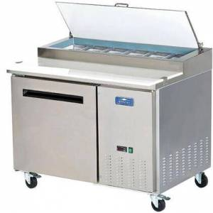 """Arctic APP48R 48"""" Single Door Pizza Prep Table with Electronic Thermostat  Locking Caster  12 cu. ft. Capacity and 1/2 HP in Stainless"""