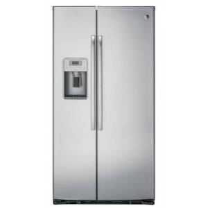 """GE Profile PZS22MSKSS 36"""" Freestanding Counter Depth Side by Side Refrigerator with 22.1 cu. ft. Capacity  4 Glass Shelves  External Water Dispenser  with Door"""