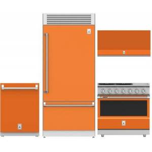 """Hestan 4-Piece Kitchen Appliances Package with KRPR36OR 36"""" Built-in Bottom Freezer Refrigerator  KDW24OR 24"""" Fully Integrated Dishwasher  KVP36OR 36"""" Wall"""