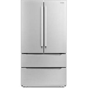 """Cosmo COS-FDR225RHSS-G 36"""" 4-Door French Door Refrigerator with 22.5 cu. ft. Capacity  Counter Depth  Electronic Temperature Touch Controls  Glass Shelves"""