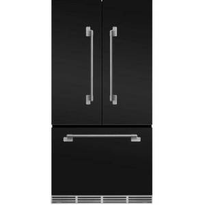 """AGA MELFDR23MBL 36"""" Elise  Counter Depth French Door Refrigerator With Storage Drawer  12 Temperature Settings  22.2 cu. ft. Capacity  Adjustable Glass"""