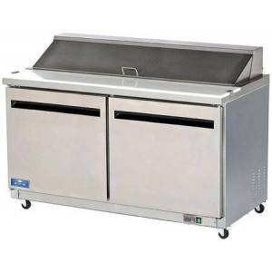 """Arctic AMT60R 62"""" Mega-Top Sandwich/Salad Prep Table with Heavy-Duty Cutting Board  Plastic Pans  Electronic Thermostat and Locking Casters in Stainless"""